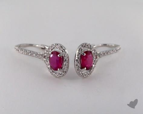 18K White Gold Leverback Diamond Halo 1.65tcw  Oval Ruby Earrings.