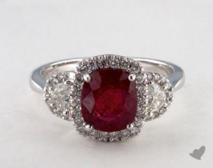 18K White Gold 1.83ct  Cushion Shape Ruby Ring