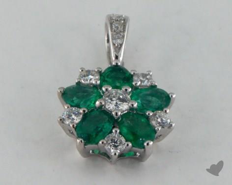 18K White Gold - 0.65ct  - Green Emerald Pendant
