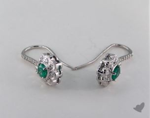 18K White Gold 0.45tcw Oval Green Emerald and Diamond Earrings.
