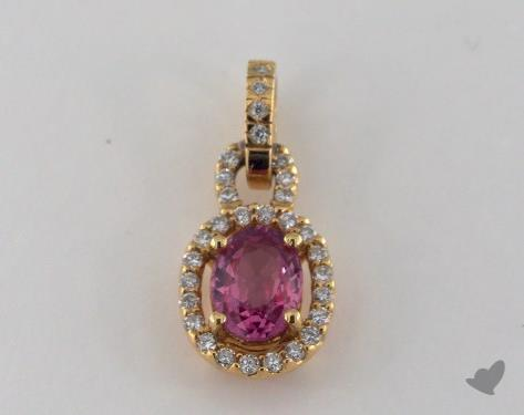 18K Yellow Gold - 0.00ct  - Oval - Pink Sapphire Pendant