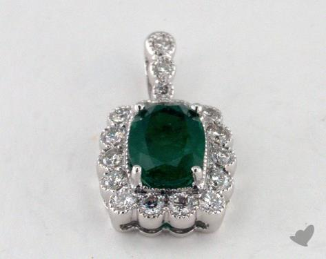 18K White Gold - 1.26ct  - Oval - Green Emerald Pendant