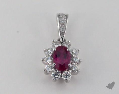 18K White Gold - 0.63ct  - Oval - Ruby Pendant