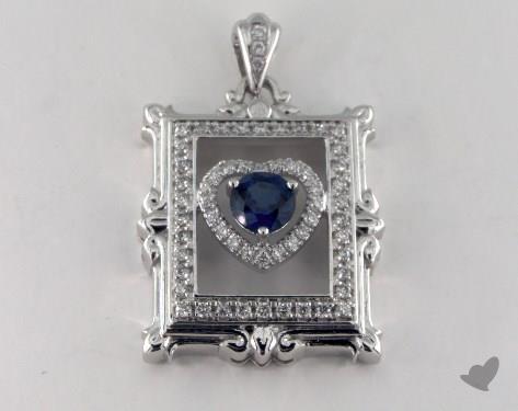 18K White Gold - 0.55ct Round- - Blue Sapphire Pendant
