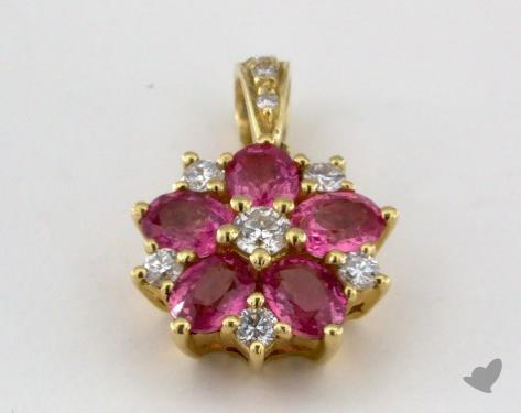 18K Yellow Gold - 1.27ct  - Oval - Pink Sapphire Pendant