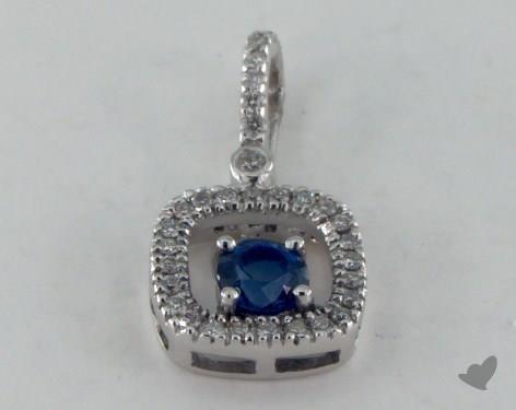 18K White Gold - 0.35ct Round- - Blue Sapphire Pendant