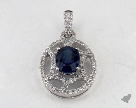18K White Gold - 1.22ct Oval- - Blue Sapphire Pendant