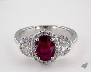 18K White Gold 1.19ct Oval Shape Ruby Ring