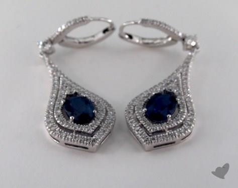 18K White Gold Leverback Diamond Double Halo 2.02tcw Oval Blue Sapphire Earrings.
