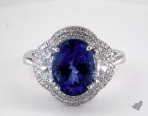 18K White Gold - 4.11ct  - Oval - Tanzanite