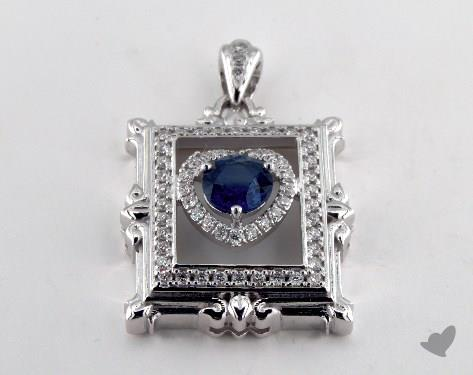 18K White Gold - 0.70ct Round- - Blue Sapphire Pendant