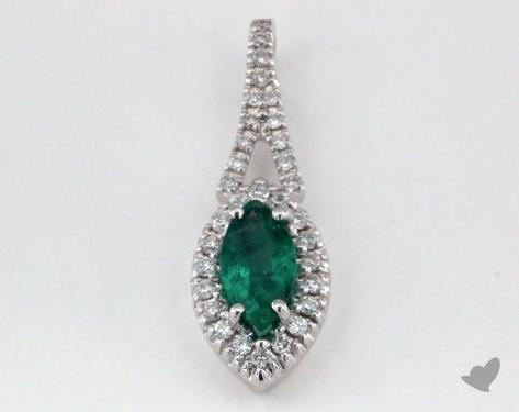 18K White Gold - 0.40ct  - Pear - Green Emerald Pendant