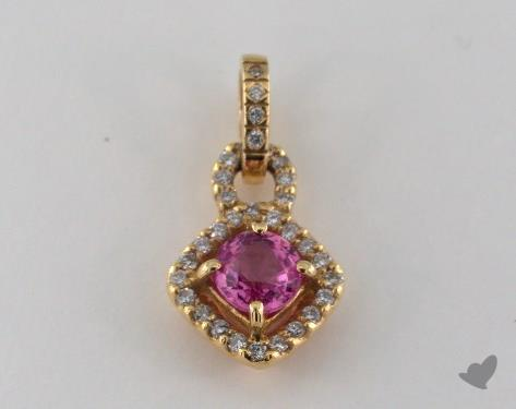 18K Yellow Gold - 0.68ct  - Round - Pink Sapphire Pendant