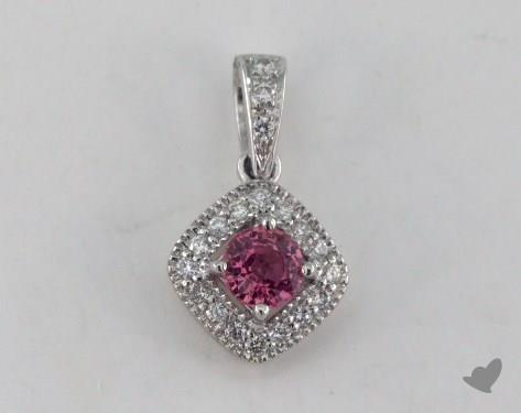 18K White Gold - 0.33ct  - Round - Pink Sapphire Pendant