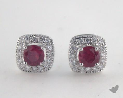 18K White Gold Diamond Pave Cushion Shaped  0.70tcw Round Ruby Earrings.