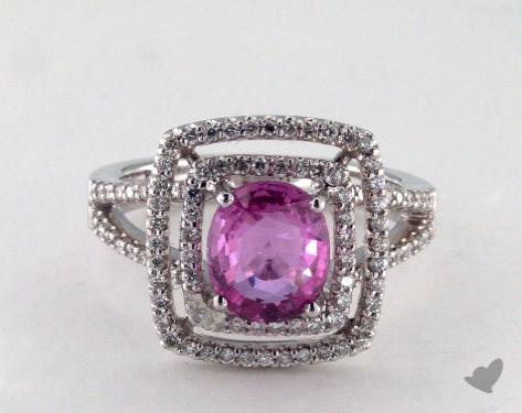 18K White Gold  2.10ct  Round  Pink Sapphire Double Frame Ring