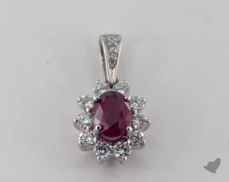 18K White Gold - 1.14ct  - Oval - Ruby Pendant