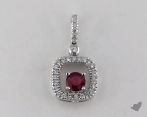 18K White Gold - 0.35ct  - Round - Ruby Pendant