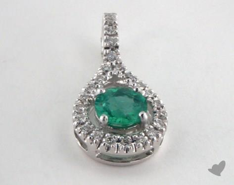 18K White Gold - 0.45ct  - Round - Green Emerald Pendant