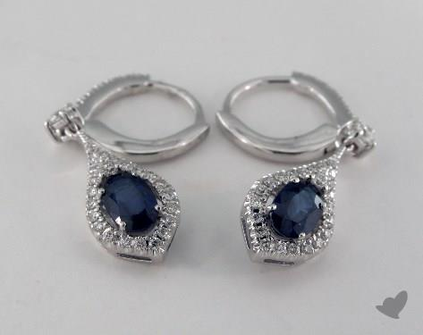 18K White Gold Leverback Diamond Halo1.15tcw Oval Blue Sapphire Earrings.