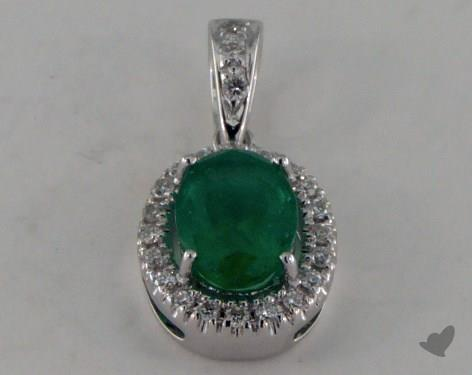 18K White Gold - 0.80ct  - Oval - Green Emerald Pendant