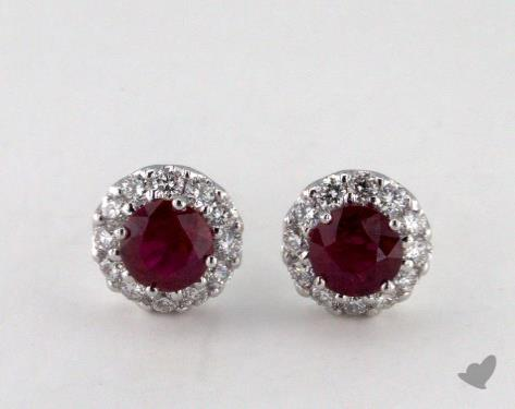 18K White Gold  Diamond Halo 0.95tcw Round Ruby Earrings.