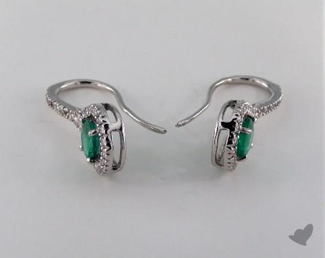 18K White Gold Diamond Halo 1.00tcw Round Green Emerald Earrings.