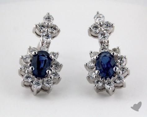 18K White Gold Starburst 1.32tcw Oval Blue Sapphire and Diamond  Earrings.