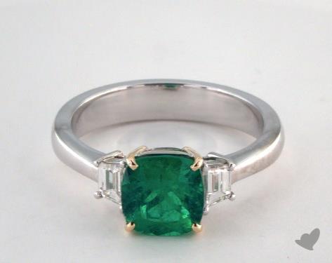 18k two tone - 1.37ct  - Cushion - Green Emerald