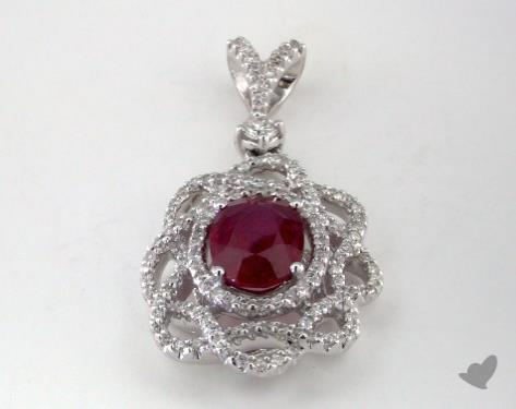 18K White Gold - 1.55ct  - Oval - Ruby Pendant