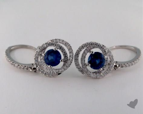 18K White Gold Leverback Double Twisted Diamond Halo 1.65tcw Round Blue Sapphire Earrings.