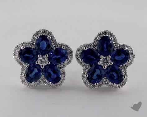 18K White Gold Diamond Pave 2.40tcw Oval Blue Sapphire Earrings.