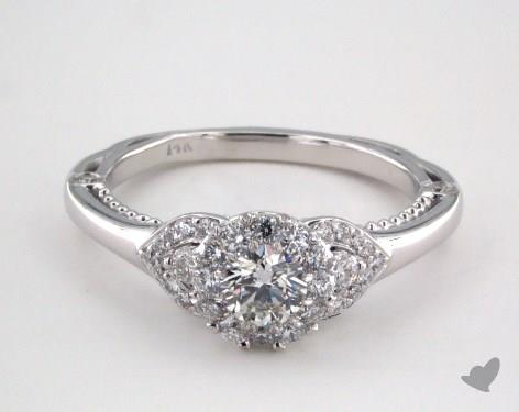 14K White Gold Royal Halo Charming Pave Shoulder Engagement Ring