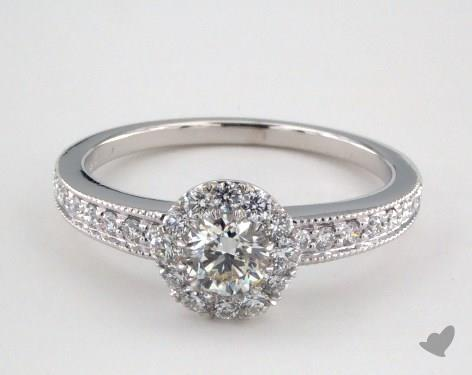 14K White Gold Royal Halo Vintage Inspired Milgrain Engagement Ring