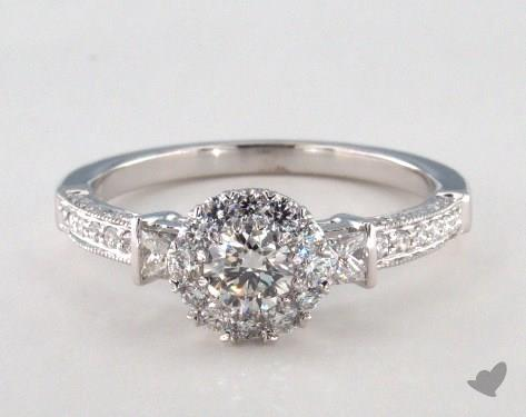 14K White Gold Royal Halo Princess and Pave Engagement Ring