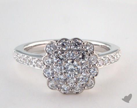 14K White Gold Royal Cushion Shape Scallop Halo Engagement Ring