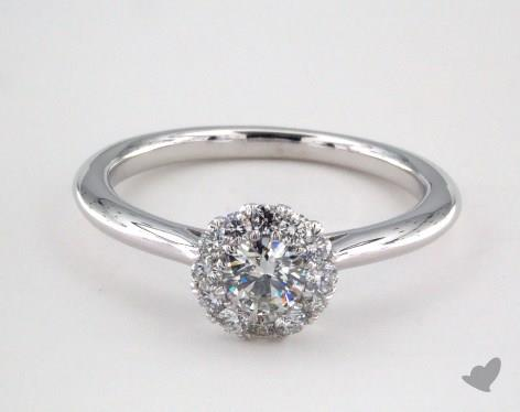 14K White Gold Royal Halo Petite Classic Engagement Ring