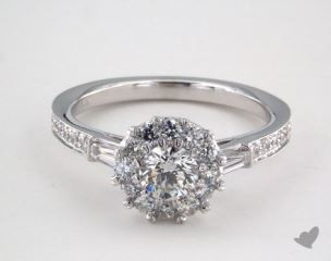 Royal Halo Tapered Baguette Engagement Ring