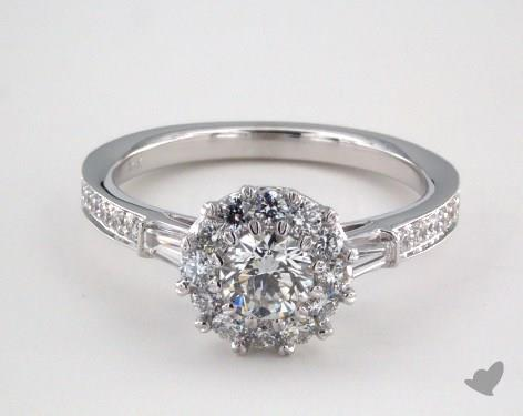 14K White Gold Royal Halo Tapered Baguette Engagement Ring