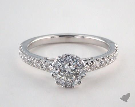 14K White Gold Royal Halo Swallow Tail Pave Engagement Ring