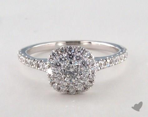 14K White Gold Royal Halo Classic Cushion Shape Engagement Ring