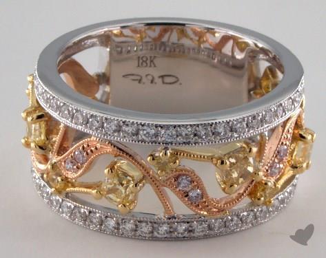 18k Three Tone Gold 1.06ctw Yellow & White Diamond Ring
