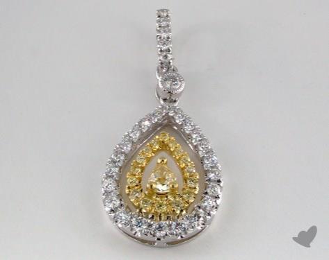 18K White and yellow - 0.19ct  - Pear - Yellow Diamond Pendant