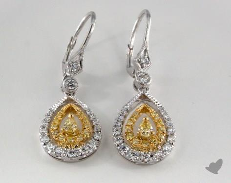 18K White and yellow - 0.28tcw  - Pear - Yellow Diamond Earrings