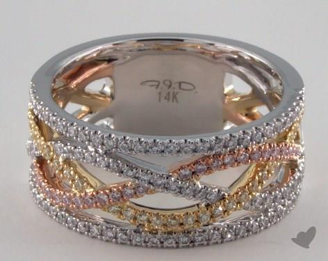 14K White, Yellow, and Rose Gold Woven Pave Ring