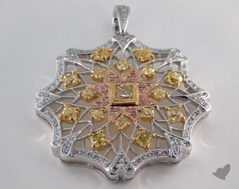 18k White Yellow and Rose Gold - 0.36ct  - Radiant - Yellow Diamond Pendant