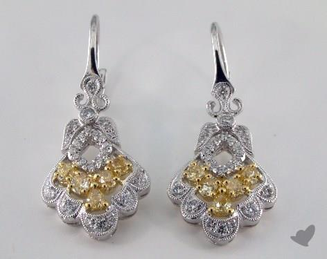 18K White and yellow - 0.20tcw  - Pear - Yellow Diamond Earrings