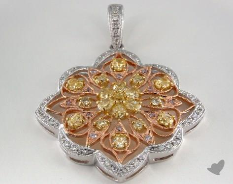 18k White Yellow and Rose Gold - 0.10ct  - Radiant - Yellow Diamond Pendant