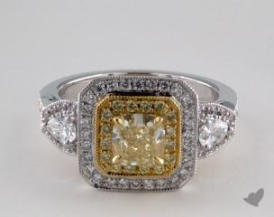 18K Two Tone Gold 1.82ctw Radiant Yellow & Pave Diamond Ring