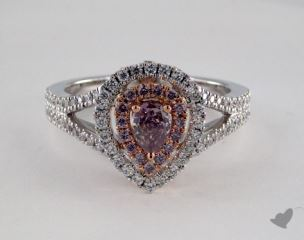 18k White & Rose Gold 0.92ctw Pear Pink & Pave Diamond Ring